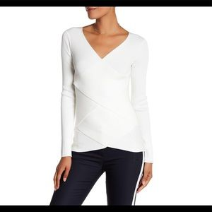 Bailey 44 Cream Long Sleeve V Neck Top